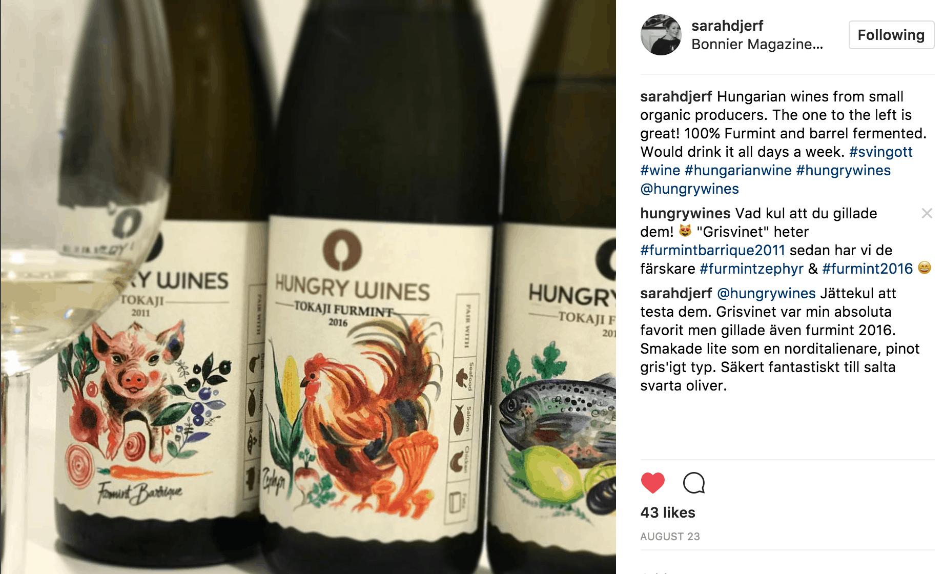 Instagram Sarah Djerf Allt om Mat Hungry Wines Furmint
