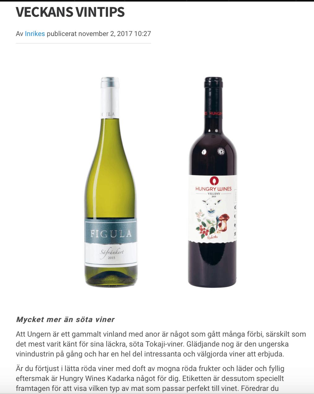 Inrikesmagasinet rekommenderar vår Hungry Wines Kadarka!