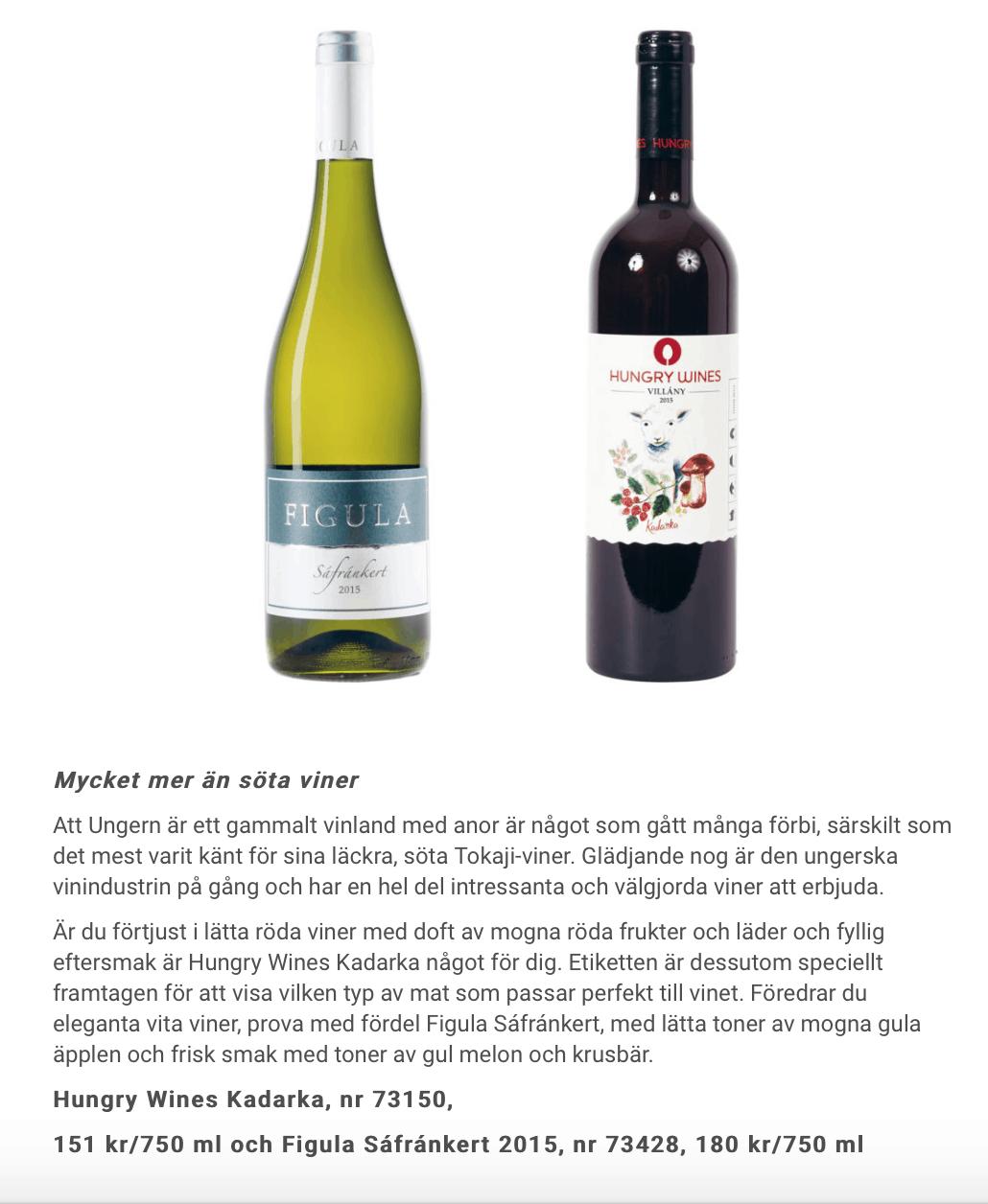 Inrikesmagasinet vintips Hungry Wines Kadarka Amalia Gonzales Stöckel