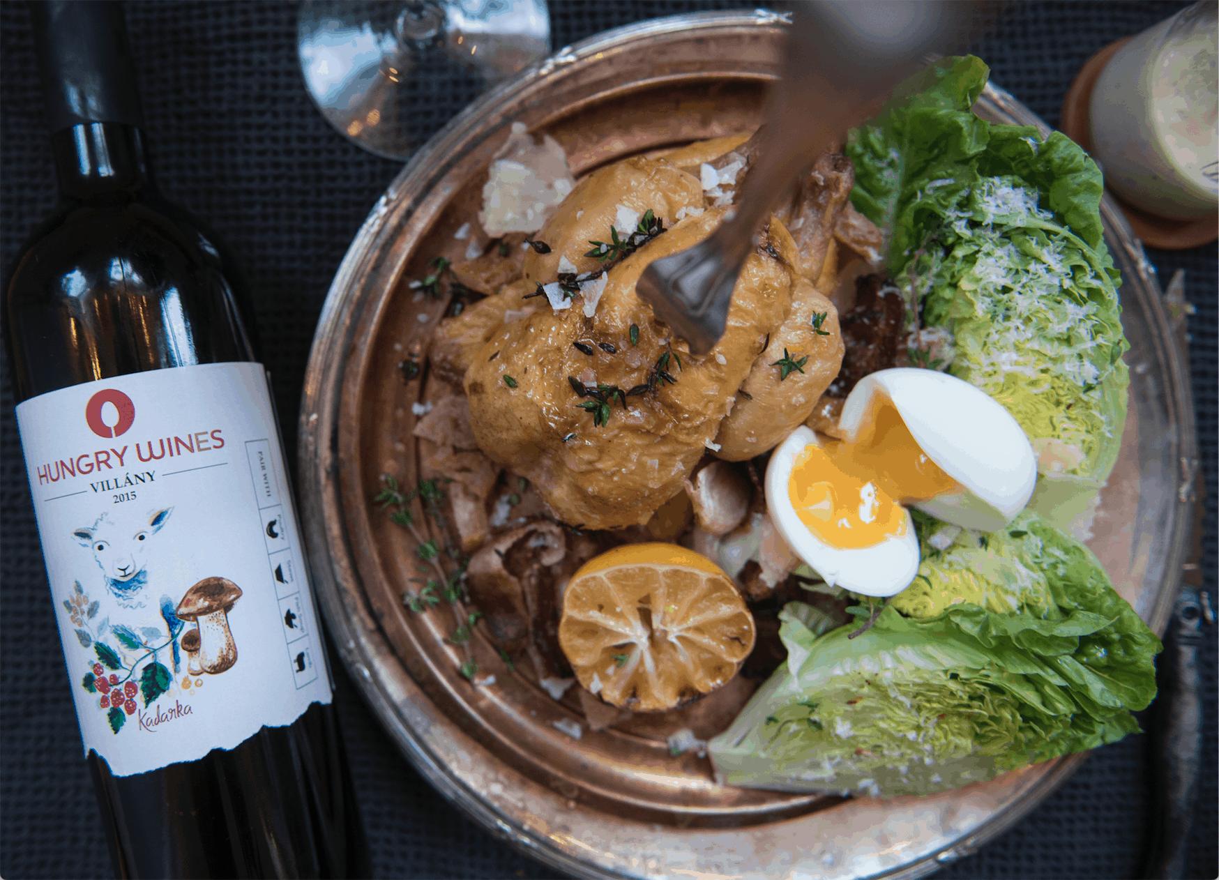 Caesarsallad med Hungry Wines Kadarka