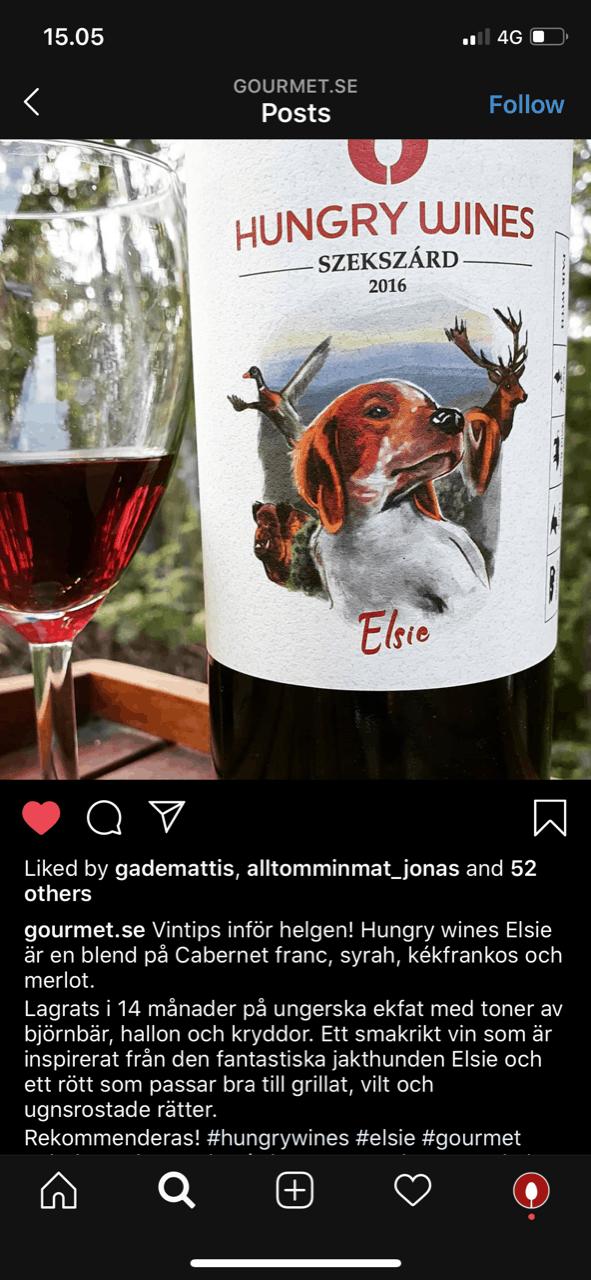 Hungry Wines Elsie får beröm från Gourmet.se